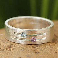 Blue topaz and amethyst band ring, 'Love Key' by NOVICA