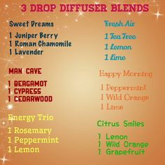 3 drop diffuser blend Essential Oil Diffuser Blends, Essential Oil Uses, Doterra Essential Oils, Roman Chamomile, Happy Morning, Lavender Oil, Tea Tree, Aromatherapy, Peppermint