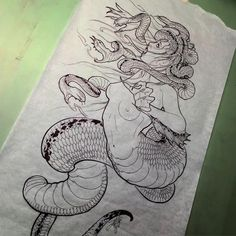 Medusa Kunst, Medusa Art, Medusa Tattoo, Tattoo Design Drawings, Tattoo Sketches, Art Sketches, Tattoo Designs, Diy Tattoo, Japanese Tattoo Art