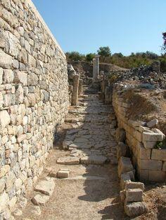 Ancient street in Kaunos. Dalyan, Mugla