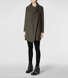Love this asymmetrical coat with the funnel neck and drop shoulder