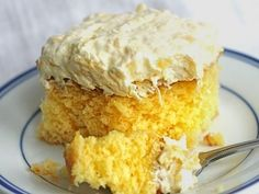Aloha Cake: Yellow cake w mandarin oranges topped w a coconut pudding & crushed pineapple frosting..