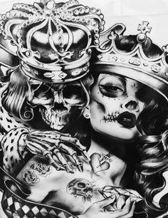 """Tradicionalmente, los tatuajes (tattoo) de calaveras mexicanas han simbolizado la muerte con una """"M"""" mayúscula, ¡pero no de una manera siniestra o negativa! Si hay un hecho innegable en este planeta, es que ningún ser humano escapa de la Parca, por rico o famoso que sea.! G Tattoo, Tattoo Wien, Flash Tattoo, Tatoo Art, Sleeve Tattoos, Deer Skull Tattoos, Skull Girl Tattoo, Sugar Skull Tattoos, Skull Tattoo Design"""