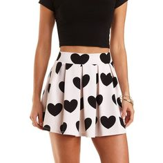 Charlotte Russe Heart Print Pleated Skater Skirt ($23) ❤ liked on Polyvore featuring skirts, bottoms, black combo, high-waisted skirts, high waisted flared skirts, pleated skater skirt, flared skirt and circle skirt