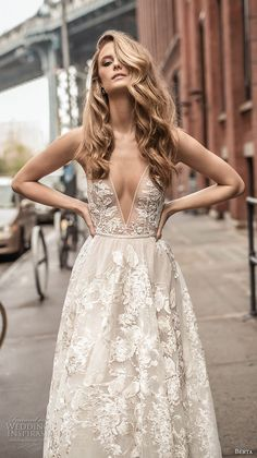 berta spring 2018 bridal spaghetti strap deep plunging v neck full embellishment sexy romantic a  line wedding dress open back chapel train (1) zv -- Berta Spring 2018 Wedding Dresses