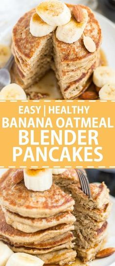 Banana oatmeal blender pancakes are sweetened naturally with bananas and maple syrup and blended together for an easy and healthy breakfast recipe. Top these healthy oatmeal blender pancakes with fresh fruit, nuts, almond butter or syrup and serve! Breakfast And Brunch, Best Breakfast, Healthy Breakfast Recipes, Brunch Recipes, Healthy Food, Breakfast Ideas, Breakfast Fruit, Healthy Pancake Recipe, Healthy Breakfasts
