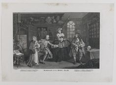 After William Hogarth and various artists, 18th - 19th Century MARRIAGE À-LA-MODE (PAULSON 228-233); AND OTHER WORKS  An album of over 200 18th - 19th century satirical prints, including the complete set of six engravings After William Hogarth engraved by Baron, Ravenet and Scotin, 1745, on various papers contained in a leather portfolio