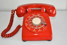 Vintage Phone Red Rotary Dial ITT Telephone on Etsy, $64.50