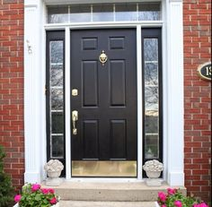 DIY Lessons Learned: Painting My Front Door Black | Pinterest ... on best exterior paint door, flat door, plain door, painting a purple door, spray paint exterior door, duron exterior paint blue door,