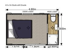 Studio Unit transportable house to rent. This Studio is x with Ensuite (on Wheels). Call HouseMe today to rent: 0800 468 7363 Bedroom Floor Plans, Air B And B, Cabin Homes, Kitchenette, Double Beds, Renting A House, New Homes, The Unit, Studio