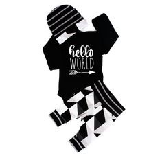 Hello World black with black and gray triangles newborn outfit Coming Home Outfit Boy, Take Home Outfit, Gigi And Max, Baby On The Way, Handmade Clothes, Toddler Outfits, Screen Printing, Onesies, Black And Grey
