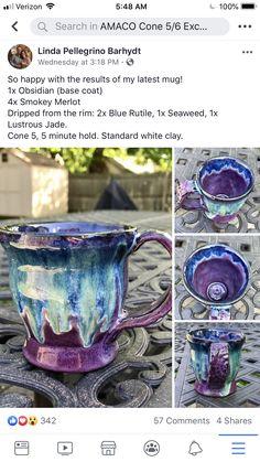 Slab Pottery, Glazes For Pottery, Pottery Mugs, Ceramic Pottery, Pottery Art, Pottery Techniques, Glazing Techniques, Ceramic Glaze Recipes, Amaco Glazes