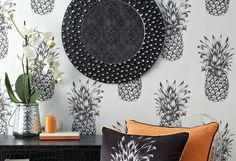 £30.14 Price per roll (per m2 £5.65), Funky wallpaper, Carrier material: Paper-based wallpaper, Surface: Smooth, Look: Matt, Design: Pineapple, Basic colour: Grey white, Pattern colour: Black grey, Characteristics: Lightfast, Wet removable, Paste the wallpaper, Water-resistant