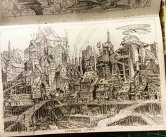 I am in awe of this #sketchbook #airship #illustration by Sean Andrew Murray (@seanandrewmurray) of a #port section of #TheGreatCityOfGateway the fantasy #city Sean has created through his gloriously detailed #sketches #drawings and other artwork. This section of the city is called Harbor Town (or maybe Harbor City based on the name on the drawing itself) and is the location for #ships #traveling by both #air and #sea to #dock unload their wares and weary #travelers and experience this…