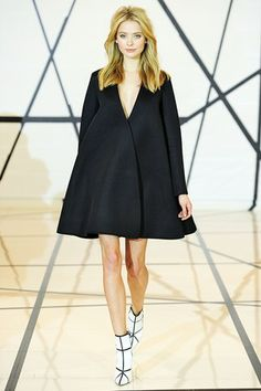 Lisa Perry  Like coat dress silhouette/cut, clean lines. Great shoe boots!