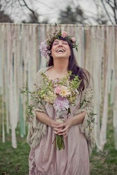 This romantic shade of purple. | 36 Of The Most Effortlessly Beautiful Boho Wedding Dresses Ever