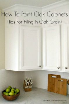 How To Paint Oak Cabinets from NewtonCustomInteriors.com Great tips for filling in oak grain.