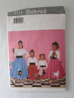 17-0718 Butterick 4113 Girl's Poodle Skirt Pattern /