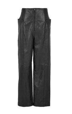 Tibi - Leather High-Waisted Pants