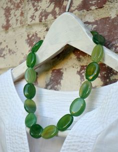 Chunky Green Agate Necklace by SeaSaltShop on Etsy, $22.00