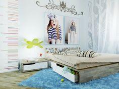 Blue kids room wall decoration wall sticker low platform bed