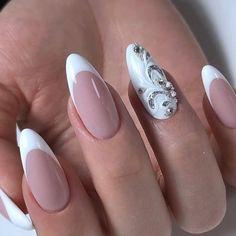 Square Nail Designs, Flower Nail Designs, Nail Art Designs, Gorgeous Nails, Pretty Nails, Pastel Pink Nails, Olive Nails, Vintage Nails, Bridal Nail Art