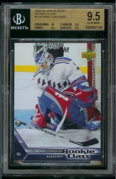 2005/06 Upper Deck Rookie Class Henrik Lundqvist Hockey Rookie Card #3 - Graded BGS 9.5 Gem Mint . $19.95. This affordable card will make a fine addition to any collection. Please contact us if you have any questions or need to see a scan of this great card.