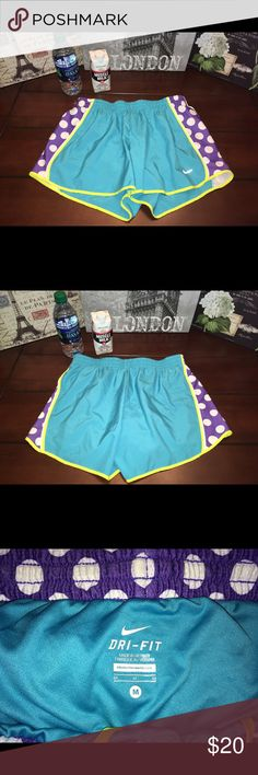 Nike Dri Fit Shorts-Blue/Purple, Medium Nike Dri Fit Shorts-Blue/Purple, Medium  Super cute with white polka dots on the sides and fabulous like-new condition!! ☺️ There's an underwear liner and two small waistband pockets.   Waist- 28 inches (14 inches across) Length- 11.5 inches (a little longer in back) Inseam- 3.5 inches Nike Shorts