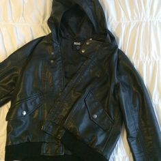 BDG vegan leather jacket like new hooded bomber with ribbed trimming. has only been worn few times. perfect for spring weather! (especially rain, with the hood!) Urban Outfitters Jackets & Coats