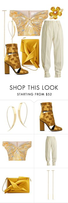 """golden style"" by amalia-paraschiv ❤ liked on Polyvore featuring Lana, Marco de Vincenzo, Peter Pilotto, Hillier Bartley, N°21, Chan Luu and David Tutera"