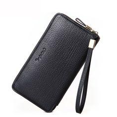 Men Top Quality Cow Leather Clutch Wallets Vintage Long Wallet Wristlet Purse Handy Bag Wallet