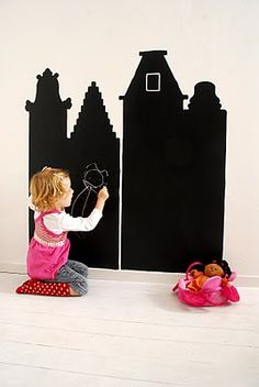 This would be so cute in a Lil Girls room, use Chalk Paint and paint a castle outline on the wall and the kids can draw in the windows doors ect.. and for Boys do a castle w/ dragan, or track on the wall ect..