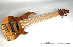 Conklin custom 9-string bass in figured walnut and birfdseye maple