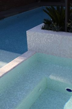 White & Pearlescent mix -  glass mosaic pool tile