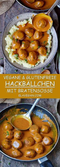 These vegan meatballs with a spicy gravy will make your mouth water. This gluten. These vegan meatballs with a spicy gravy will make your mouth water. This gluten-free comfort meal is hearty, satisfying, and easy to make. Meat Recipes, Whole Food Recipes, Vegetarian Recipes, Dinner Recipes, Healthy Recipes, Sauce Recipes, Vegan Meals, Gluten Free Meatballs, Vegan Meatballs