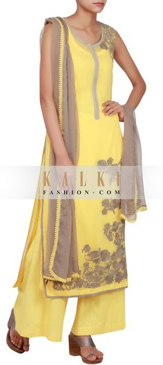 Get this beautiful Salwar-Kameez http://www.kalkifashion.com/yellow-georgette-straight-cut-salwar-kameez-embellished-in-thread-work-only-on-kalki.html
