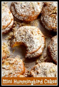 Mini Hummingbird Cakes.Humming bird cake with nuts,banana & pineapple. http://www.ifood.tv/recipe/hummingbird_food_recipe