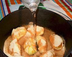 Apple Dumpling Dessert made in a Dutch oven over a campfire. #camping #recipe by elva