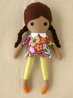 Fabric Doll Rag Doll Girl with Braids and Floral by rovingovine, $36.00