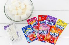 These Kool-Aid Marshmallow Pops are the easiest summer snack idea! Summer Snacks, Easy Snacks, Kool Aid Packets, Coconut Peanut Butter, Sugar Crystals, Marshmallow Pops, Lollipop Sticks, Shake It Off, Sweet