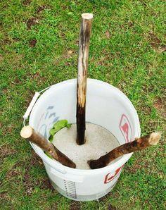 gjut en pall i hink med betong - Selber machen mit beton - Hantverk