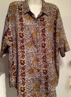 New Priankas Collection Animal Print Long Shirt Plus Size 2X $10.99
