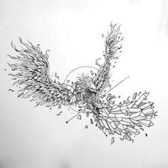 Gorgeous fine line phoenix picture. Style: Fine Line. Color: Black. Tags: Best, Amazing, Beautiful