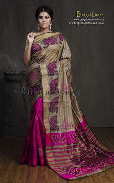 Dupion Tussar Kalamkari Saree in Beige and Hot Pink Kalamkari Saree, Silk Sarees, Hot Pink Blouses, Printed Sarees, Bengal, Sarees Online, Sari, Photoshoot, Pure Products