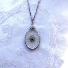 "Antique Camphor Glass Necklace Rhodium Setting and 16"" Chain Camphor Jewelry"