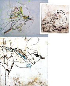 Machine Embroidery by Marloes Duyker - from Utrecht lovely loose free stitching . Freehand Machine Embroidery, Bird Embroidery, Free Motion Embroidery, Free Machine Embroidery, Thread Art, Thread Painting, Stitch Drawing, Machine Quilting Designs, Art Quilting