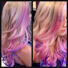 Ideas for hair blonde highlights pink purple Hair Color Pink, Blonde Color, Cool Hair Color, Pink Hair, Purple Ombre, Blonde Hair With Pink Tips, Hair Colors, Purple Tips, Bright Purple