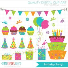 Birthday Party Clip Art / Digital Clipart  by MyClipArtStore, $4.00