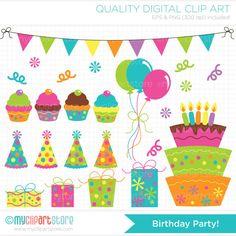 Birthday Party Clip Art / Digital Clipart  by MyClipArtStore, $4.00
