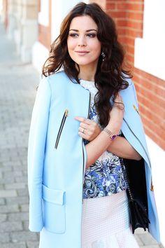 Pastel blue coat.
